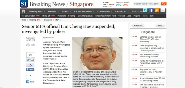 Senior MFA official under probe Singapore