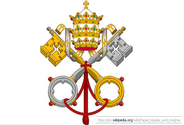 Papal insignia - showing the keys to looe or bind